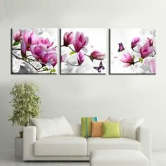 3-Piece-abstract-Modern-Wall-Painting-purple-pink-flower-Home-Decor-Art-Picture