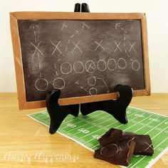 Turn a chocolate bar into a chalkboard. Draw a football play and the choc-board becomes a Super Bowl party centerpiece, dessert, or party favor.