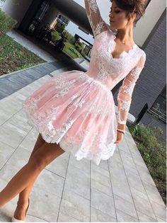 Pink Long Sleeves Homecoming Dress,Short Lace Appliques Graduation