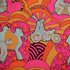 1970s gift wrapping paper illustration.