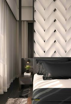 Discover how these luxury decor ideas are the ones you'll want in home interior design. All the home design ideas to get the perfect home you've ever wanted. Bedroom Vintage, Modern Bedroom, Bedroom Decor, Bedroom Black, Bed Design, Wall Design, House Design, Headboard Designs, Master Room