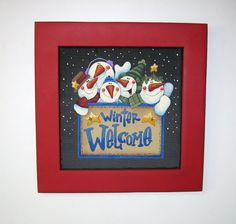 Winter Welcome Snowmen Sign Hand Painted on by barbsheartstrokes, $38.00