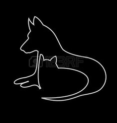 Vector of stylized cat and dog silhouettes- Cat and dog silhouettes design vector icon photo Cat And Dog Tattoo, Dog Tattoos, Tattoos Skull, Dog Silhouette, Silhouette Design, Silhouettes, Animal Line Drawings, Tattoo Tribal, Wire Art Sculpture