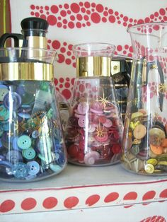 buttons in coffee carafes.