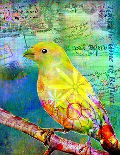 Mixed Media Bird Art by Robin Mead