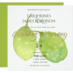 #TROPICAL GREEN WATERCOLOUR FOLIAGE LEAF WEDDING CARD - #barn #wedding #rustic #invitation #cards #party #ideas