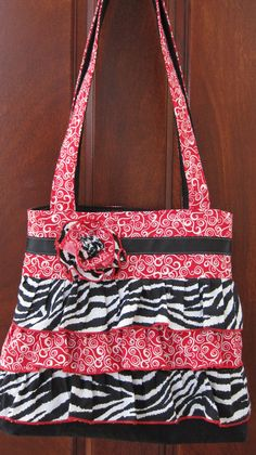 Red+Zebra+Ruffle+Tote+by+TheGreenMenagerie+on+Etsy,+$48.00
