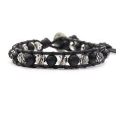 Matte Onyx Mix Single Wrap Bracelet on Natural Black Leather - Chan Luu