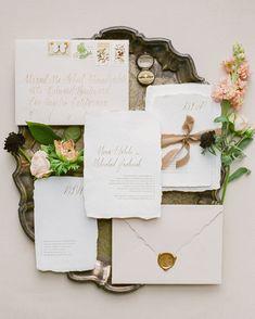 Ink Ivory Wedding Invitations, Letterpress Wedding Invitations, Ribbon Wedding, Diy Wedding, Fall Wedding, Vintage Stamps, Invitation Suite, Gold Foil, Handmade Envelopes