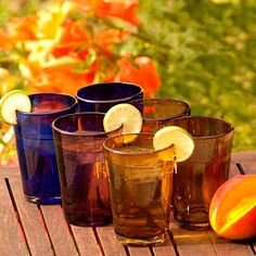 UNICEF Market   Mexican Multicolor Handblown Glasses Tumblers Drinkware Six - Rainbow Gems - DISHWASHER SAFE