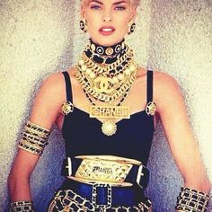Vintage image, Evangelista in lots of Chanel!