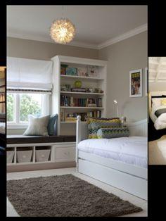 Klein verhoogd hoekje bouwen onder het raam in de slaapkamer. Opleuken met gezellige kussens en een klein boekenkastje. Mooi plekje om je even terug te trekken