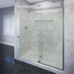Add a touch of flair to your bathroom by installing this Basco Cantour Frameless Offset Pivot Shower Door and Inline Panel in Brushed Nickel. Frameless Shower Enclosures, Frameless Shower Doors, Glass Shower Doors, Glass Door, Shower Walls, Shower Niche, Shower Base, Glass Showers, Master Shower