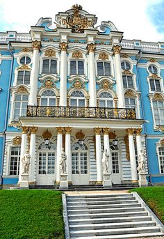 The Catherine Palace is a Rococo palace located in the town of Tsarskoye Selo, 25 km southeast of St. Petersburg, Russia. It was the summer residence of the Russian Tsars.