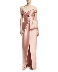 Off-the-Shoulder Mikado Tulip Gown, Blush by Monique Lhuillier at Neiman Marcus. Pink Evening Gowns, Pink Gowns, Pink Dress, Peplum Gown, Strapless Gown, Off Shoulder Evening Dress, Shoulder Dress, Off Shoulder Gown Couture, Shoulder Tops
