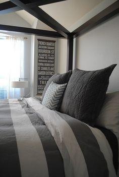 Grey and white #bedroom #decor, West Elm duvet cover