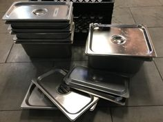 RESTAURANT SUPPLY ASSORTMENT OF STAINLESS STEEL INSERTS WITH LIDS Restaurant Supply, Restaurant Equipment, Stainless Steel, Home Decor, Commercial Restaurant Equipment, Decoration Home, Room Decor, Home Interior Design, Home Decoration