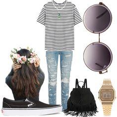 Boho. Floral crown. Backpack. Casio watch. Vans slip-on. Hipster.