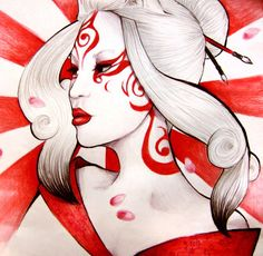 Sun Goddess Amaterasu by *pinkbutterflyofdeath on deviantART    The tattoo on this artwork is very primal to me. May or may not show up on Asatera. Definitely makes me want to try and create a goddess that is both elegant and primal though.