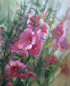 Hollyhock Stem - pink oil garden floral, painting by artist Mary Maxam