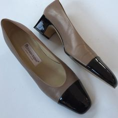 """Etienne Aigner leather shoes Classic tan leather with black patent toes and heels. These shoes are gorgeous for dressing up any professional outfit. 1 3/4"""" heel. In excellent pre-loved condition. Smoke-free/pet-free home. Etiene Aigner Shoes"""