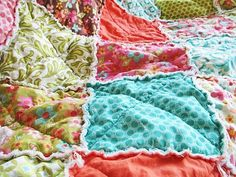 Picnic Rag Quilt Throw, Sweet Nothings
