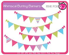 whimsical bunting banner clip art by pinkfoxdesign.deviantart.com on @deviantART