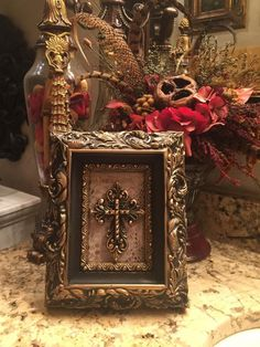 Chunky frame with 4 x 6 opening mounted with textured shimmer hide and gold cross. Hand embellished with Swarovski crystals. Handmade in the USA. Pink And Gold Decorations, Pine Cone Decorations, Table Decorations, Glamour Decor, Tuscan Style Homes, Vintage Photo Frames, Picture Frame Decor, Blue Shutters, World Decor