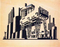 Russian constructivist architect and graphic artist Paper Architecture, Architecture Drawings, Conceptual Architecture, Architecture Graphics, Russian Constructivism, Walking City, Russian Avant Garde, Graphic Art, Graphic Design