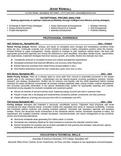 Superb Pricing Analyst Resume Example