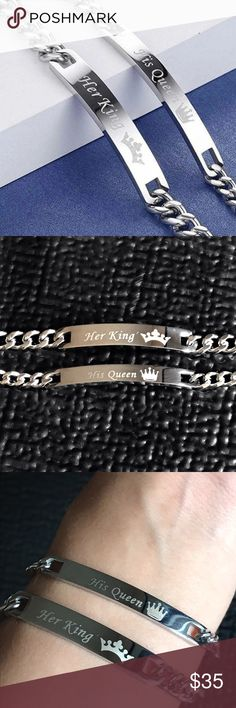 """Silver Tone His Queen & Her King Couples Bracelets Brand new Price firm No trades PRICE IS FOR BOTH BRACELETS          Metal: Stainless steel     Length Female: 9.5""""     Length Male: 10""""     Size: Adjustable      Color: Silver     Gift Box Included  High grade stainless steel metal will not tarnish fade or turn skin green. Male bracelet engraved """"Her King"""" female bracelet engraved """"His Queen"""". Jewelry Bracelets"""