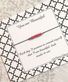 """Our """"Beautiful"""" bracelet is finally back in stock! A sweet little reminder... and a thoughtful little gift for a special Valentine ❤️ . . #beautiful #wishbracelet #youarebeautiful #positivevibes #positivity #love #honor #yogalife #spiritualjewelry #valentinesdaygift"""