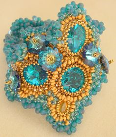 Gold & Turquoise  Beaded Cuff ....love the colors together.