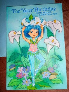 Vintage Rose Petal Place Doll Birthday Card1983 by Peripat on Etsy