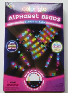 """Color Glo Alphabet Beads Jewelry Craft Kit by nsi international. $19.99. Includes 364 glo alphabet beads, 70 round glo beads,. 100 multi color round beads, 100"""" nylon string, 50"""" black  cord,. 3 key rings and detailed instructions. Glow in the Dark alphabet bead craft kit. Make amazing glow in the dark jewelry and accessories. Includes alphabet glo beads that glow different colors in the dark.  Full color glow in the dark products use exclusive high tech compounds to produce ..."""