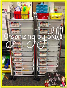 Organizing Materials by Skill for Any Grade! Saves on space and keeps materials at your fingertips! :)