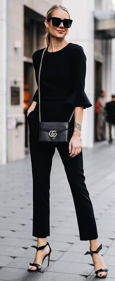 all black everything / blouse pants bag heels