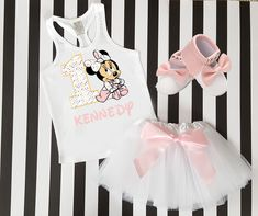 1st Birthday Dress shirt 2pc pink Tutu outfit Dora Party -With NAME-