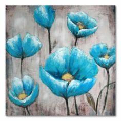40''+x+40''+''Blue+Flowers''+Canvas+Wall+Art
