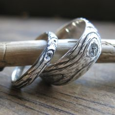 wood grain ring PLYWOOD sterling silver SET faux bois. $150.00, via Etsy.