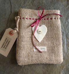 Handmade burlap gift bag by LindsayDrakeHandmade on Etsy, $5.50