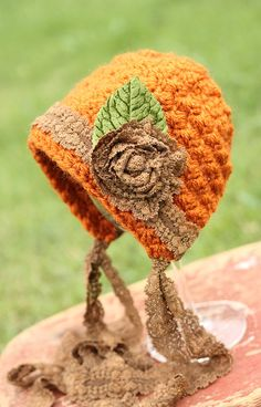 NEW Pumpkin Spice Newborn Bonnet with Vintage Caramel Lace and Velvet Green Leaf--Newborn Photography Prop Made to Order by HappyHooksCroche Crochet Fall, Halloween Crochet, Crochet Baby Hats, Crochet Beanie, Cute Crochet, Crochet For Kids, Crochet Crafts, Crochet Projects, Knitted Hats