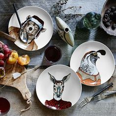 Dapper Animal Plates from West Elm. Shop more products from West Elm on Wanelo. Christmas Gift Guide, Christmas Gifts, Christmas Decor, Animal Plates, Halloween Dishes, Cool Presents, West Elm, Bull Terrier, Dinnerware