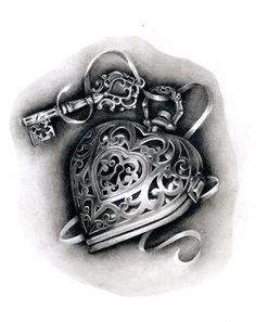 Heart Locket Tattoo Flash | heart locket tattoo | Tumblr