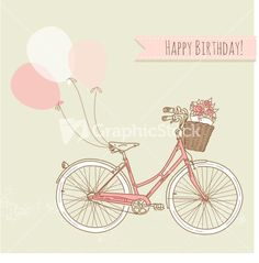 Bicycle With Balloons And A Basket Full Of Flowers Stock Image