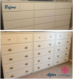 O'verlays on IKEA Malm 6 drawer chests - I'm not sure, think I prefer them plain. Plus isn't it the point of malm that they are cheap? Ikea Makeover, Furniture Makeover, Commode Malm Ikea, Hack Ikea, Ikea Dresser Hack, Nightstand, Eco Furniture, Furniture Stores, Furniture Outlet