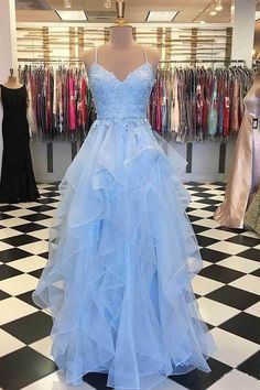 Tulle Appliques Long Prom Dress with Spaghetti Straps Fahion Long Blue School Dance Dresses Custom Made Long Evening Party Gowns Pretty Prom Dresses, Junior Prom Dresses, Straps Prom Dresses, Prom Dresses For Teens, Tulle Prom Dress, Prom Dresses Blue, Homecoming Dresses, Beautiful Dresses, Maxi Dresses