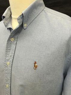 Polo #RalphLauren #Mens #Shirt Medium Classic Fit Plain Blue #Oxford Cotton #menswear #mensfashion #mensstyle