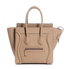 CELINE Drummed Calfskin Micro Luggage Dune ❤ liked on Polyvore featuring bags and luggage