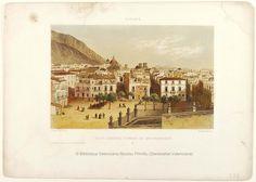 Vista general tomada de San Francisco,  Alicante, entre 1860 y 1886, por  Isidor Laurent Deroy. 1 estampa : litografía col ; imagen 13 x 20'5 cm., en h. de 22'5 x 27 cm